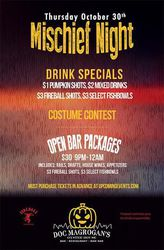 Mischief Night Halloween Party at Doc Magrogan's Philadelphia