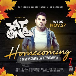 HOMECOMING ~ Zee Bar's Thanksgiving Eve Blowout!