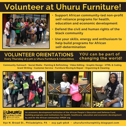 Volunteer with Uhuru Furniture and support black self-determination! Orientations 5pm every Thursday