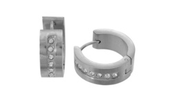 Simply Steel Mens Stainless Steel & Crystal Huggie Hoop Earrings