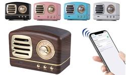 Zummy Mini Retro Bluetooth Speaker Vintage Wireless Stereo Support FM Radio