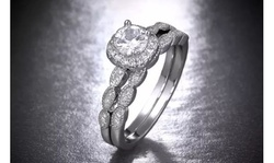 Cubic Zirconia Double Row  Halo Engagement Ring in Sterling Silver