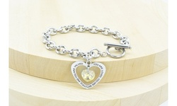 Inspirational Heart Outline Toggle Bracelet Made With Swarovski By Pink Box