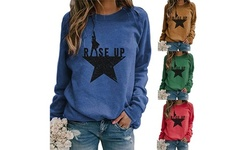 Women's Tunic Casual Letter Printed Round Neck Long Sleeves Pullover Tops