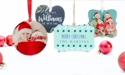 One, Two, Three or Four Personalized Double-Sided Metal or Wood Ornaments from Picture It Custom (Up to 77% Off)