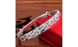 Women's 925 Sterling Silver Adjustable Spark Pattern Fashion Bangle Bracelets