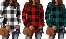 Women's Long Sleeves Plaid Printed Slit Hemline Long Sleeve Mid-Length Tops