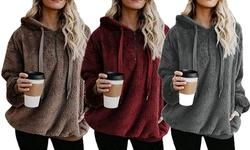 Women Long Sleeve Zipper Sweatshirt Pullover Fleece Casual Hooded Outwear Coats
