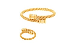Gold-Tone Stainless Steel Twist Texture CZ Bezel Bangle and Ring Set
