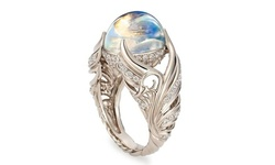 925 Sterling Silver Angel Wings Wedding Band Charming Moonstone Diamond Ring