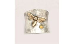 Unique Tow Tone 925 Sterling Silver Honey Bee Opal Bee Wide Band Ring