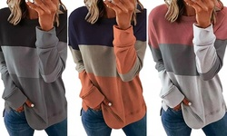 Women's Contrast Color Round Neck Long Sleeves Tee Casual Top