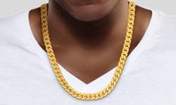 "Arturo Zeta Men's 24"" Cuban Chain Necklace in 18K Yellow Gold Plating"