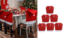 2-8 Pack Christmas Chair Covers Santa Hat Chair Back Caps Slipcovers Set