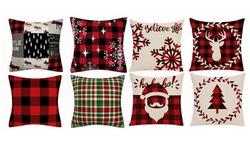 Christmas Santa Plaid Pillow Case Farmhouse Sofa Throw Cushion Cover