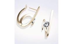 Women's 18K Gold Round Cut CZ Diamond Crystal Dangle Earrings