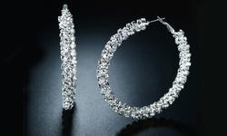 Double-Row Hoop Earrings in Swarovski Crystal