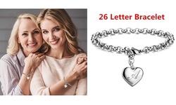 Charm Bracelets Stainless Steel Heart 26 Letters Alphabet Bracelet for Women