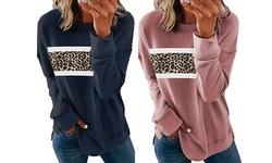 Women's Casual Leopard Round Neck Long Sleeve Loose Pullover Sweatshirt Tops