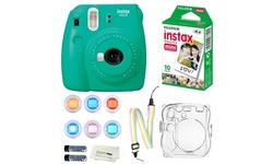 Fujifilm Instax Mini 9 Instant Camera, 10 Fuji Films, Clear Case-6 color filters