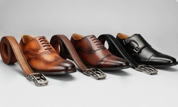 Vincent Cavallo Men's Faux-Leather Dress Shoes with Matching Belt Set