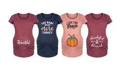 Bloom Maternity: Thankful & Blessed Women's Maternity Tees