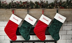 One or Two Personalized Embroidered Velvet Christmas Stockings from Qualtry (Up to 83% Off)