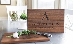 One or Two Large Personalized Mahogany Cutting Boards from Qualtry (Up to 50% Off)