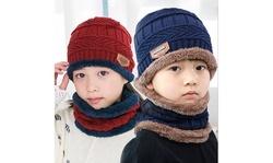 2Pcs Kids Winter Knitted Hats Scarf Set Warm Fleece Lining Cap for Boy Girl