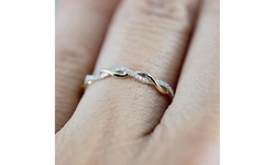 Women's Fashion Twisted Rope Ring Finger 18K Gold Micro Inlaid Zircon Ring