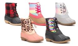 Olivia Miller Girls' Jump-in-Line Duck Boots