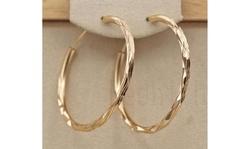 Women 18K Gold Filled Big Hoop Geometry Concave Pageant Earrings