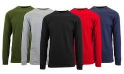 Galaxy by Harvic Men's Cotton-Rich Long-Sleeve Crew-Neck Tee (S-6XL)