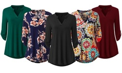 Haute Edition Women's Floral 3/4 Roll Sleeve Tunic Top