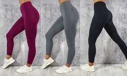 Women's Ultra-Stretch-Pocket Yoga Pants Solid Color Hip Sports Tight Yoga Pants