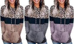 Women's Leopard Hoodie Sweatshirts Drawstring Long Sleeve Tops With Pockets
