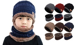 2Pcs Kids Winter Thick Beanie Hat Scarf Set Slouchy Warm Snow for Boys Girls