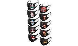 10PCS Adult's Christmas Prints Protection Face Mask Washable Earloop Mask