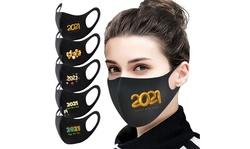 5PC Reusable Christmas 2021 New Year Ice Silk Face Fashionable Washable Mask