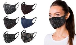 Celebrity Bling Rhinestone Washable Face Mask (6-Pack)