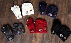 One, Two, Three, Five, or 10 Monogrammed Knit Beanies and Gloves Gift Sets from Qualtry (Up to 69% Off)