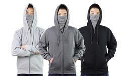 LeeHanTon Men's Hoodie with Built-in Face Cover (S-2XL)