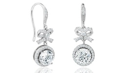 Elements of Love Bow and Halo Drop Earrings in 18K White Gold Plating Made with Swarovski Elements