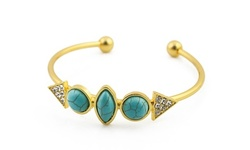 Genuine Turquoise Bangle Bracelet in 18K Gold