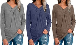 Women's Solid Color V-neck Twisted Long Sleeve T-shirt