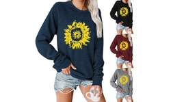 Women's Sunflower Pattern Printed Sweatshirts Long Sleeve Round Neck Tunic Tops