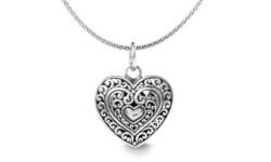 Willowbird Women's Filigree Heart Pendant in Sterling Silver