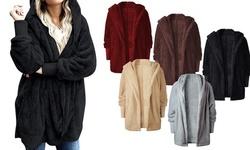 Women Fuzzy Fleece Jacket Open Front Hooded Cardigan Coat Outwear