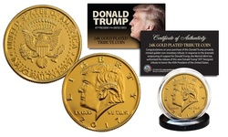 Donald Trump Presidential Inauguration 24K Gold Clad Tribute Coin BOGO