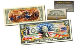 July 4th Independence Day 2-SIDED Official Legal Tender Two-Dollar U.S. Bill
